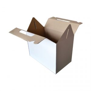 White Carrier Box w. Handle (255 x 150 x 185mm)